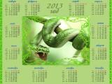 Календарь на 2013 год  Год змеи, змея с зеленой окраской