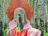 Шаблон для фотошоп - русский женский костюм в кокошнике