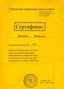 Сергеечев-химия (2004-2005) - ШКОЛА № 617 УМНЫЕ ДЕТИ