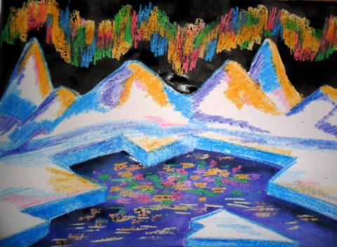Как нарисовать северное сияние карандашами поэтапно 62