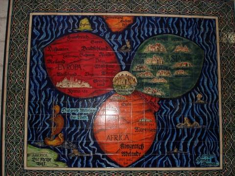 Древняя карта мира. В центре цветка - Иерусалим.  - Эльвира Викторовна Талецкая
