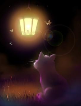 Фонарь и кот... наверняка слышат друг друга))) - Елена Васильевна Селезнева