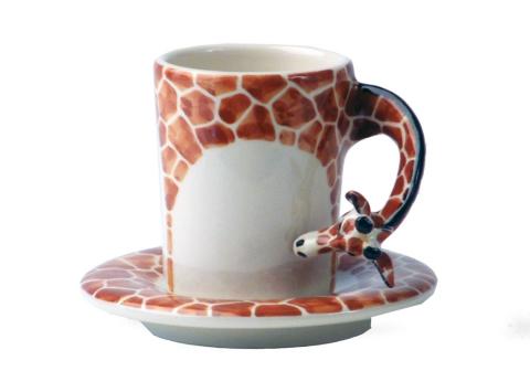 """Чашка с объемным риснуком  """"Жираф """", с блюдцем, Керамика, размер 10 X 8 см. Все фигурки на чашках выполнены и..."""