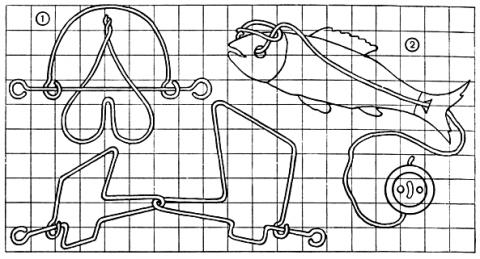1-головоломки из проволоки; 2-головоломка со шнурком.  Рис. 124.