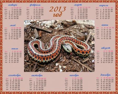 Календарь на 2013 год Символ года, змея с красной окраской - Фотошоп-копилка