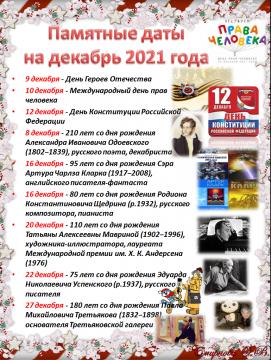 Памятные даты на декабрь - Ольга Васильевна Смирнова