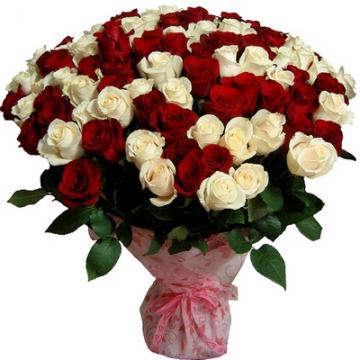 """Букет:  """"77 Красно - белых роз """" - цветы: 77 красных, белых роз.  Цена.  Заказать с доставкой по Сочи."""