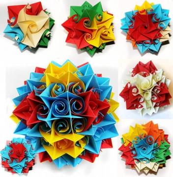 Кусудамы - разновидность оригами, бумажные цветочные шары из нескольких модулей.