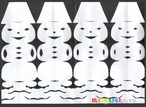 Как сделать из бумаги снеговика фото - Оригами.